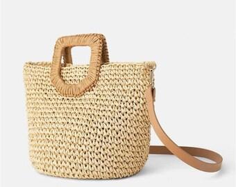12f121485db Handmade Straw Tote Bag, Women Ladies Beach Bucket Bag, Woven Bali Style Bag,  Bohemian Tote Bag, Sac Bandouliere, Summer Spring Bag