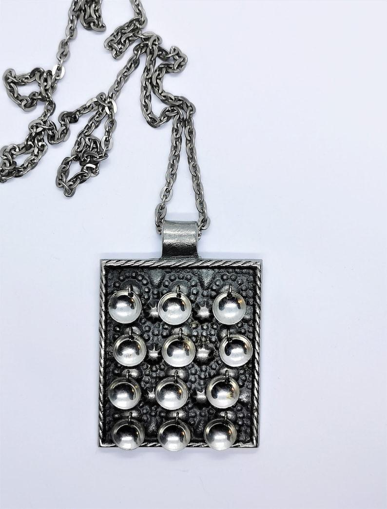 Design Knut Erik Wallberg Handmade Necklace in pewter for  Wege Tenn  Sweden 1970.