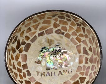 coconut bowl with mother of pearl_elephant from Thailand