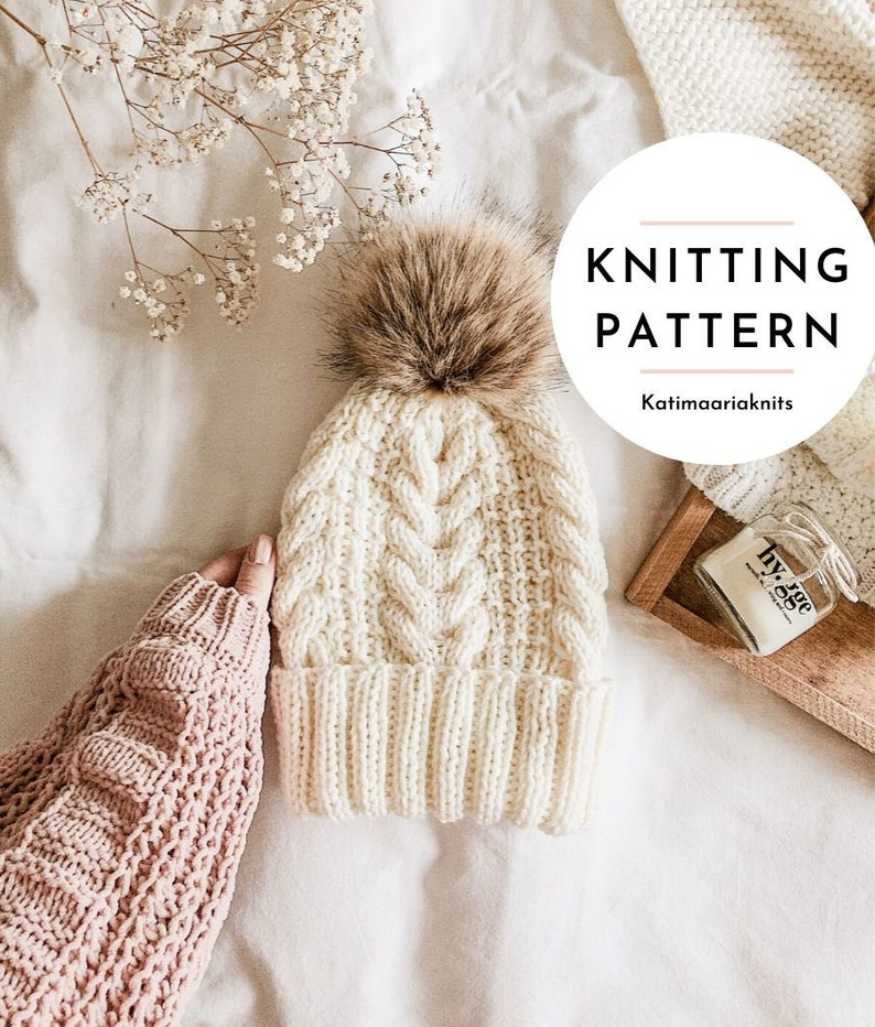 Vieno Beanie Knitting Pattern // Cable Beanie // Chunky Cable image 0