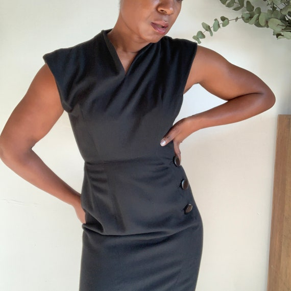 50's Black Wool Pencil Dress with Button Detail