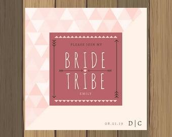 5x5 Custom Pink and Tan Bridesmaid Bride Tribe Invitation
