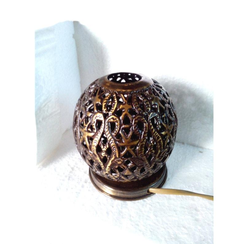 BR369 Moroccan Table Tea light Brass Round Ball Lamp
