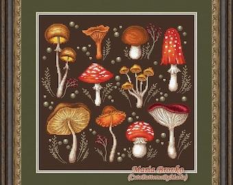 Cross Stitch Pattern Mushroom sampler DMC Chart Printable PDF Instant Download