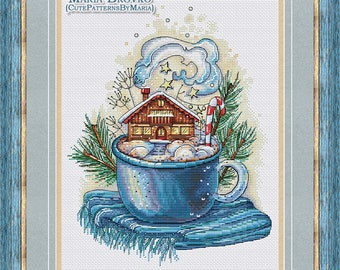 """Cross Stitch Pattern """"Winter in the cup"""" DMC Cross Stitch Chart Needlepoint Pattern Embroidery Chart Printable PDF Instant Download"""
