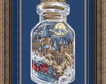"Cross Stitch Pattern ""School of Magic in the bottle"" DMC Cross Stitch Chart Needlepoint Pattern  Printable PDF Instant Download"