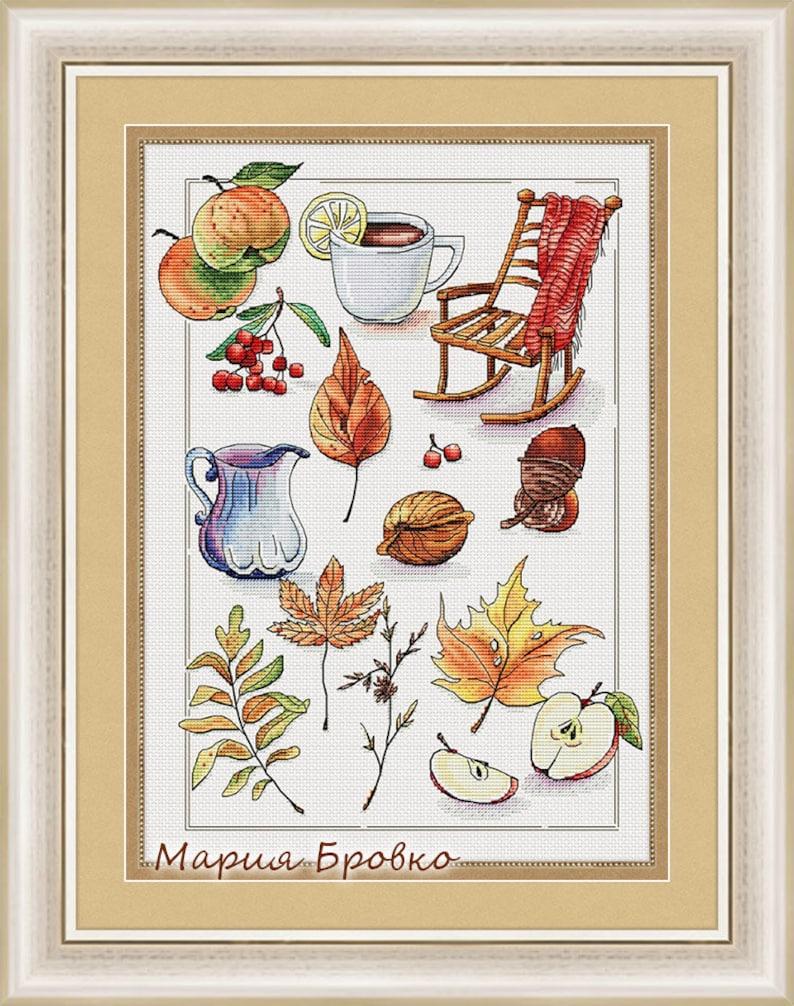 d52f93b9c93 Cross Stitch Pattern Autumn in details DMC Cross