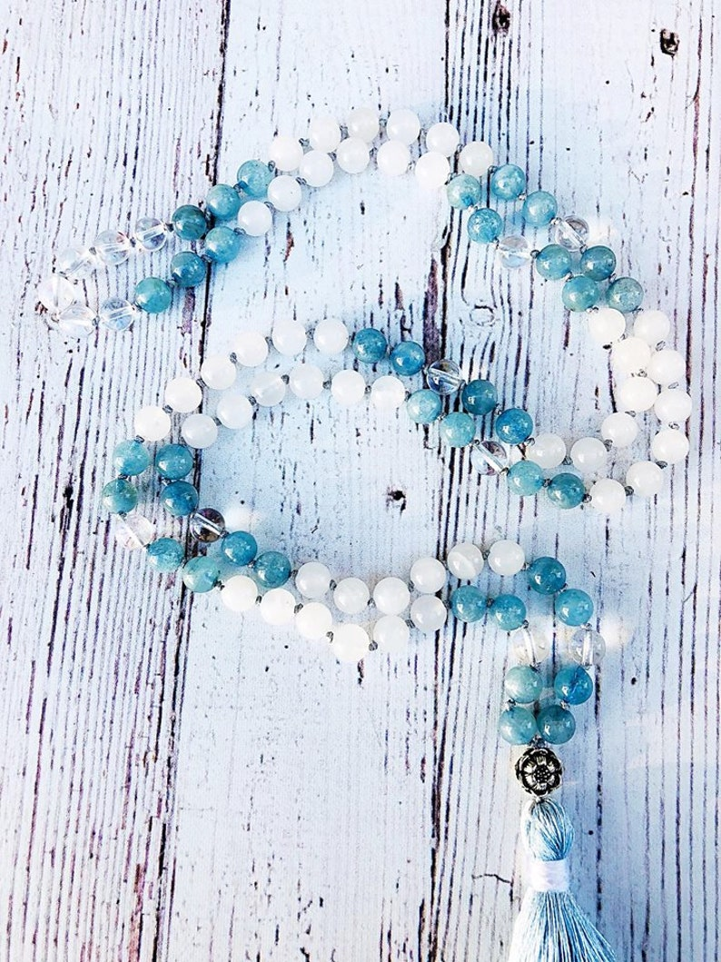 Aquamarine Mala Necklace \u2022 Crystal Quartz Mala \u2022 Reiki Necklace \u2022 Tassel Necklace \u2022 Mala Beads Necklace \u2022 Chakra Necklace \u2022 Yoga Jewelry