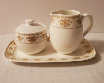 Plus Ceram Bone China Sugar Bowl and Creamer Set