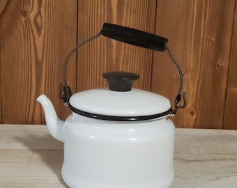Petite 4 Cup Enamelware Kettle - for Decorative Use