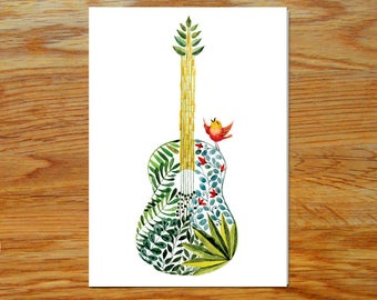 The Guitar & The Bird in Watercolor - Greeting Card *DIGITAL DOWNLOAD*