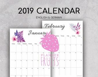 Prinatble Calendar 2019 Large Wall Calendar Desk Calendar Monthly Pages Printable PDF Calendar 2019 Instant Download Printable Calendar