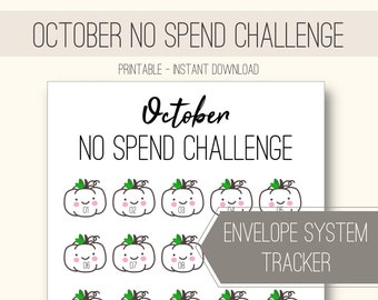 PRINTABLE October NO Spend Challenge with cute pumpkin character for transparent zipper bags [Instant Download]