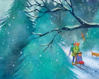 Through the Snowy Woods with Grandma - When the Snow Falls - Framed Prints from the acclaimed children's book