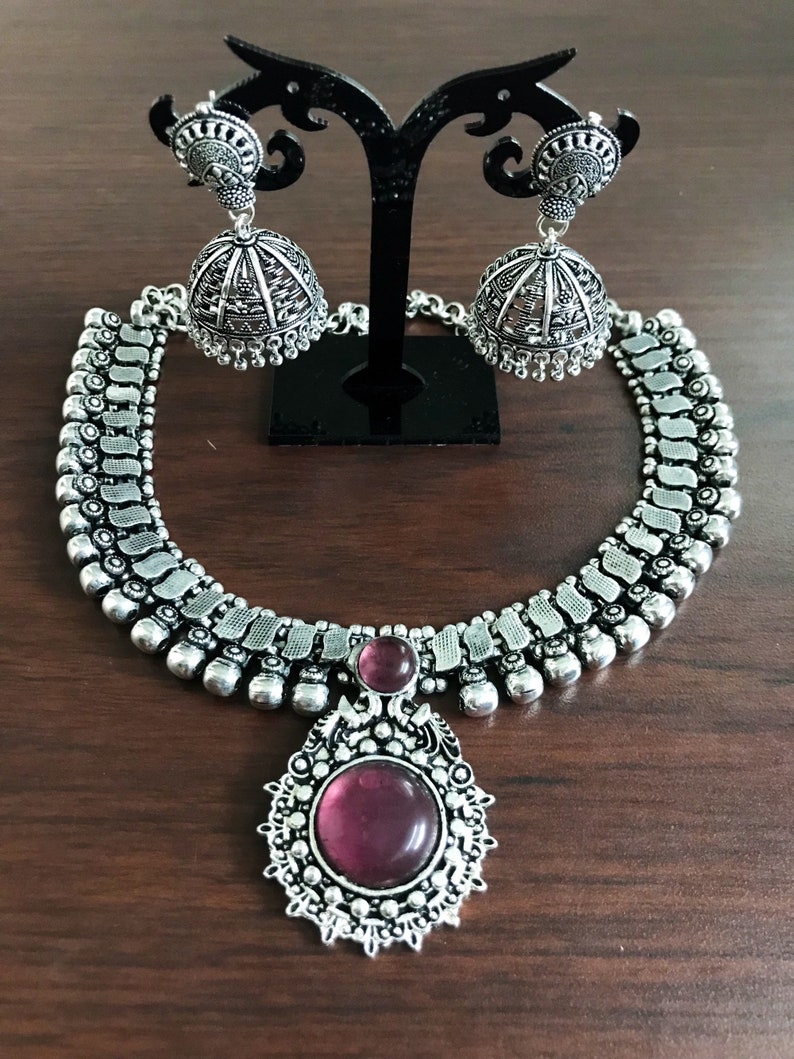 119f2e1c4746f Oxidised German Silver Indian necklace with Synthetic pink gemstone  Cabochon and matching jhumka, Indian ethnic necklace set
