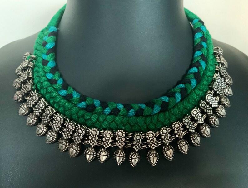 Oxidised Kholapuri Necklace with braided thread Dori and oxidized Jhumka earrings
