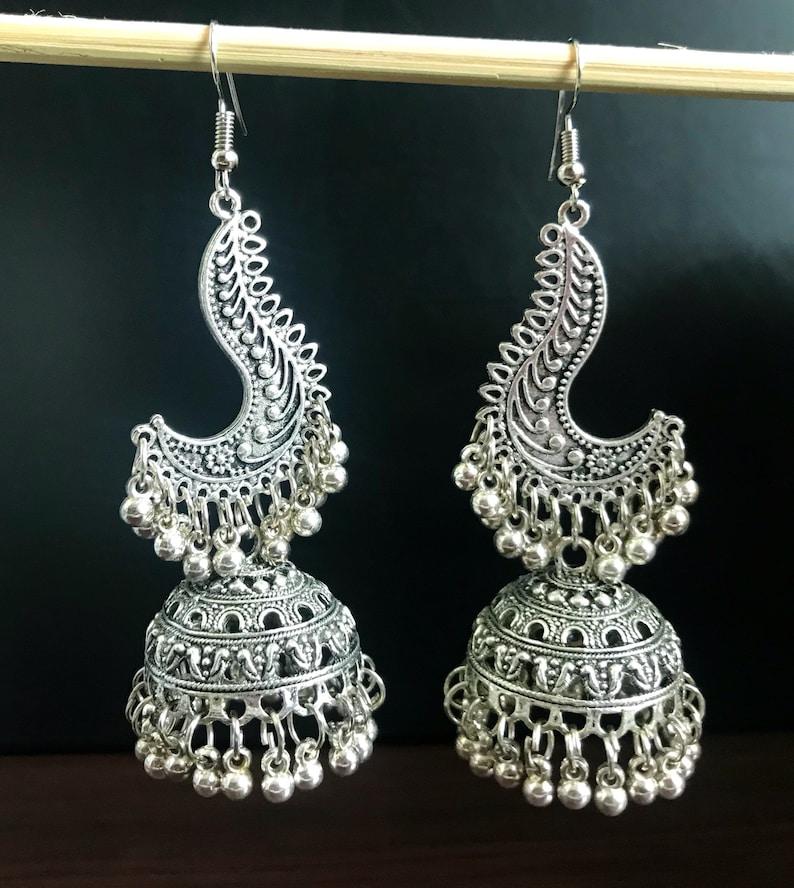 Oxidised Silver Long Jhumka -German Silver Indian Jewellery Clearance sale!!! Tribal style jewellery