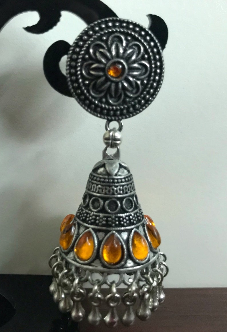 Oxidized Silver Jhumka with Purple and Golden yellow stones German Silver Indian Jewelry