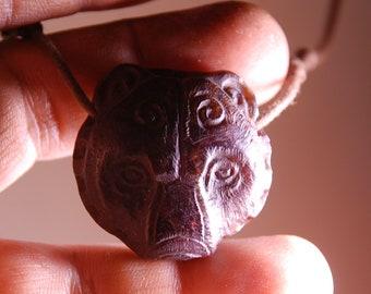 Bear Necklace, Garnet Stone, Hand Carved by Timucin Cakaloz