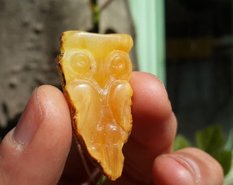 Amber Necklace, Owl Necklace, Amber Owl hand-carved by Esen Akmaz