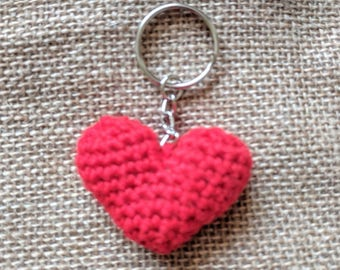 Crochet Red Heart Keyring