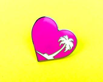 Heart & Palm Tree Enamel Pin   Summer   Camp Stuff
