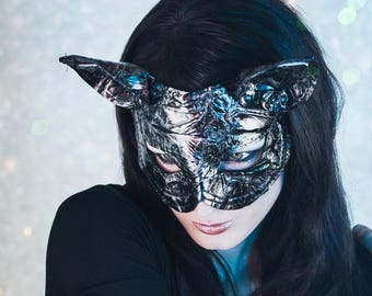 Cats Mask Mask cat catwoman fetish wrinkle look silver grey unique