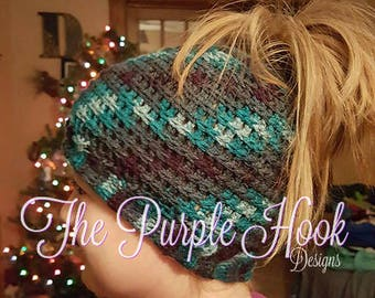 Pattern Only-Alyssa's Ponytail Hat, Ponytail Hat, Crochet Hat, Women's Gift, Handmade, DIY, Pattern, Download, Beginner Crochet Pattern