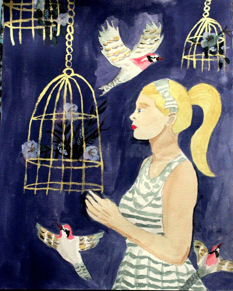 Original - Flora and Feathers (Birds, Bird Cages, Purple Walls, Portrait of  Woman, Flowers)