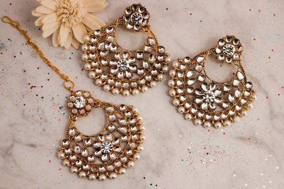 Indian Bollywood Oro Plateado de novia Boda Pendientes De Perlas Bisutería conjunto