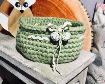 Decorative crocheted basket