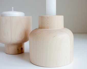 Candle holder, wooden candle holder - GIRO
