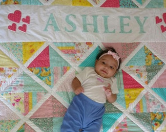 Custom Made Personalized Baby Quilt