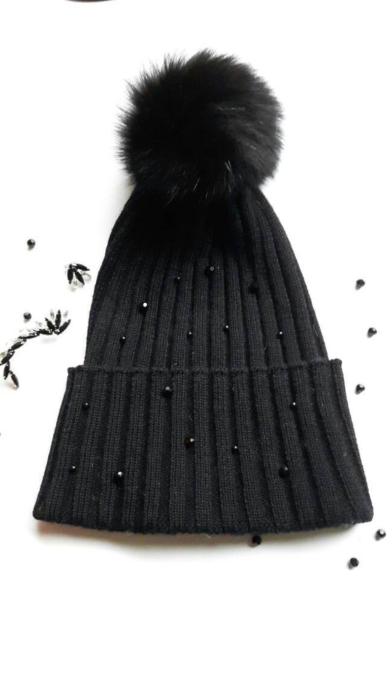 7b5349cbacb Merino hat fur pom pom swarovski beads pearls cashmere