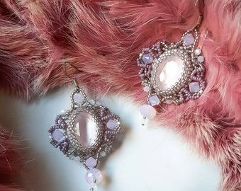 Beaded earrings . Pink powder swarovski crystals, toho seed beads. Ready to ship. Bride shower earrings.