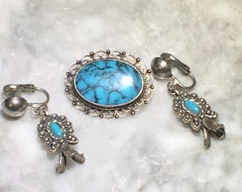 Sancrest Clip On Earrings and Mexican Sterling Brooch