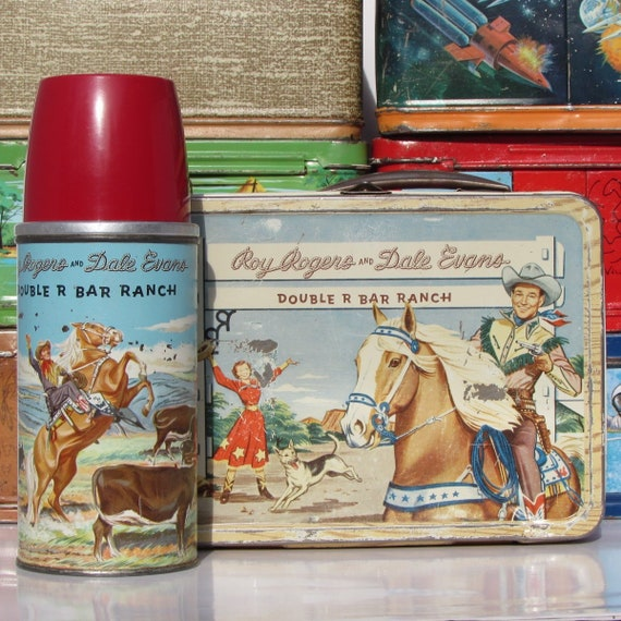 Original 1950's all Metal Lunch Box with Thermos Roy Rogers & Dale Evans Double R Bar Ranch Lunchbox by American Thermos Trigger and Bullet!