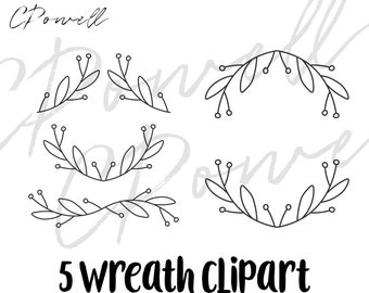 Minimalist wreath clip art, 5 black white wreaths clipart, SVG, PNG, JPG, 300 dpi