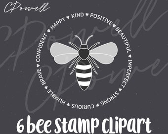 6 Minimalist Bee Clipart Stamp Inspirational Quotes Words Clip art PNG 300 dpi