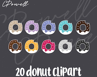 Donut clip art, 20 donut clipart, SVG, PNG, JPG, 300 dpi