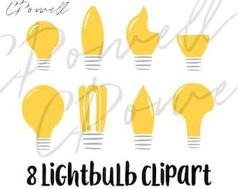 Light bulb clip art, 8 lightbulb clipart, SVG, PNG, JPG, 300 dpi