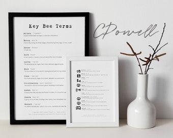 A4 Educational Bee Terms Chart - Digital Print Only- Bees, honeybee, beekeeping, beekeeper - PDF, PNG - Print-ready
