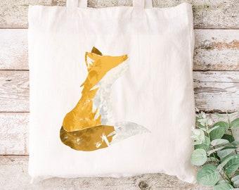 The Fox 100% organic cotton tote bag canvas shopping - eco friendly - hand drawn design