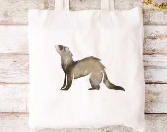 Personalised Ferret 100% organic cotton tote bag canvas shopping - eco friendly - hand drawn design