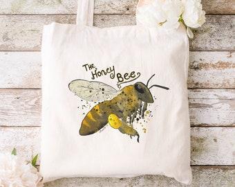 Honey bee 100% organic cotton tote bag canvas shopping - eco friendly - hand drawn design