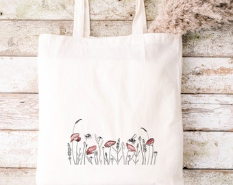 Bumble bee meadow 100% organic cotton tote bag canvas shopping - eco friendly - hand drawn design