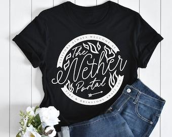 The Nether Portal - Minecraft Graphic Cute Tshirt t-shirt 100% organic cotton gaming WOMENS MENS