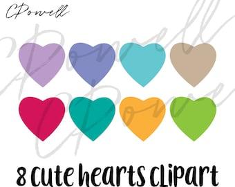 8 Cute Hearts Clipart Clip Art PNGs 300 dpi