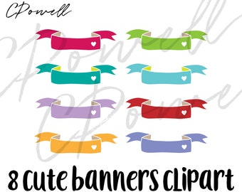 8 Cute Banners Clipart, PNG 300 dpi