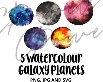 5 Watercolour Planetary Galaxies planets galaxy astronomy moon hand drawn Clipart Clip Art PNGs 300 dpi